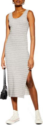 Topshop Stripe Column Midi Dress