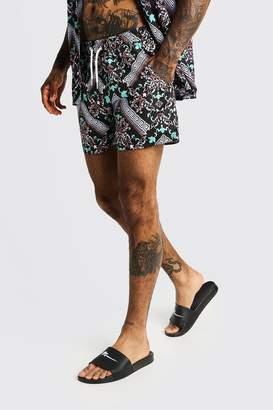 boohoo Mosaic Print Mid Length Swim Shorts