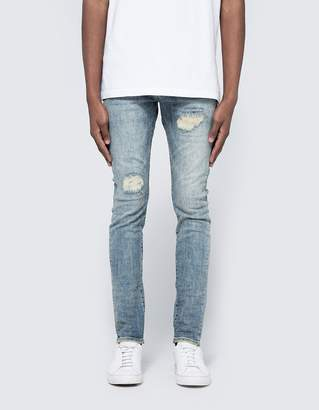 Purple 001 Slim Fit Denim in Light Indigo Repair