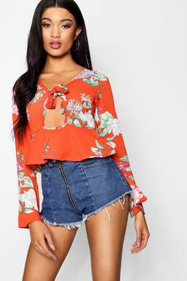 boohoo Floral Printed Tie Front Blouse With Key Hole