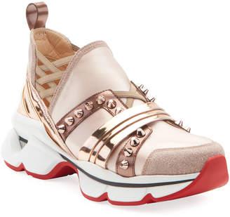 Christian Louboutin 123 Run Flat Glitter Red Sole Sneakers