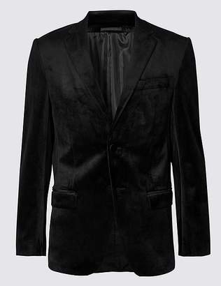 Marks and Spencer Velvet Black Regular Fit Jacket
