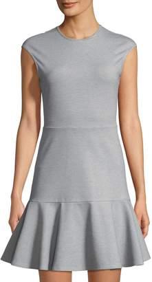 Theory Essential Flare Cap-Sleeve Ponte Mini Dress