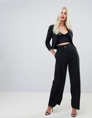 Outrageous Fortune wide leg paper bag waist pants in black