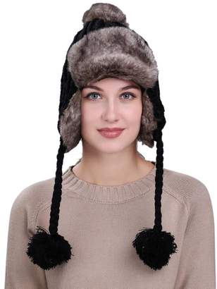 7ff1d4dffb1830 Compia Warm Winter Women Snow Hat with Ear Flaps Knit Wool Beanie Cap
