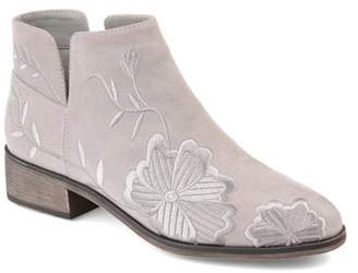 Brinley Co. Womens Faux Suede Side-slit Embroidered Floral Booties
