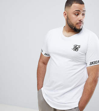 SikSilk t-shirt in white with side stripe exclusive to ASOS
