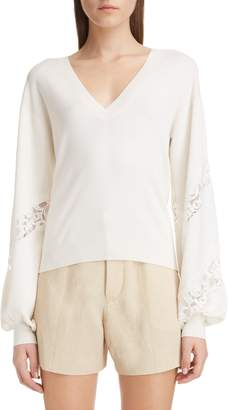 Chloé Lace Detail V-Neck Sweater