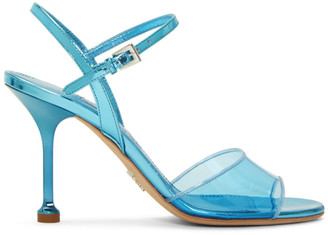 Prada Blue PVC Heeled Sandals