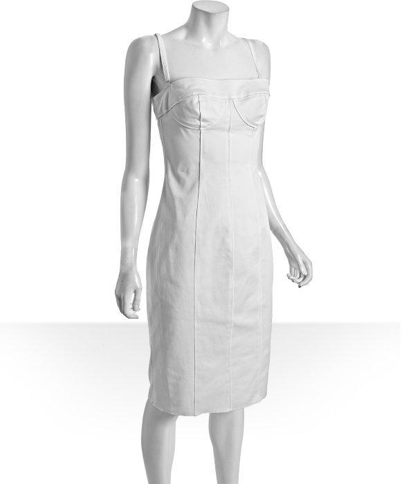 D&G white stretch cotton strapless bustier dress