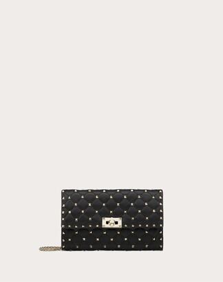 Valentino Garavani Rockstud Spike Nappa Leather Crossbody Clutch Bag Women Black Lambskin 100% OneSize