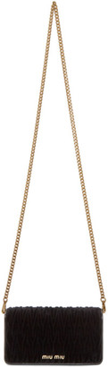 Miu Miu Black Velvet Matelasse Wallet Chain Bag