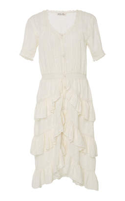 LoveShackFancy Bec Knee Length Ruffle Dress