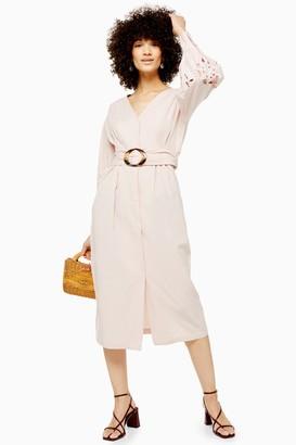 Topshop Womens Cutwork Balloon Sleeve Midi Dress - Blush