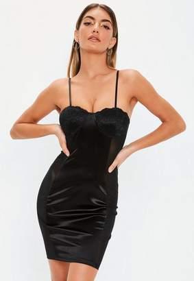 Missguided Black Lace Cup Satin Bodycon Mini Dress