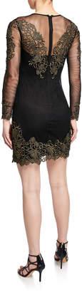Karen Millen Long-Sleeve Embroidered-Mesh Illusion Dress