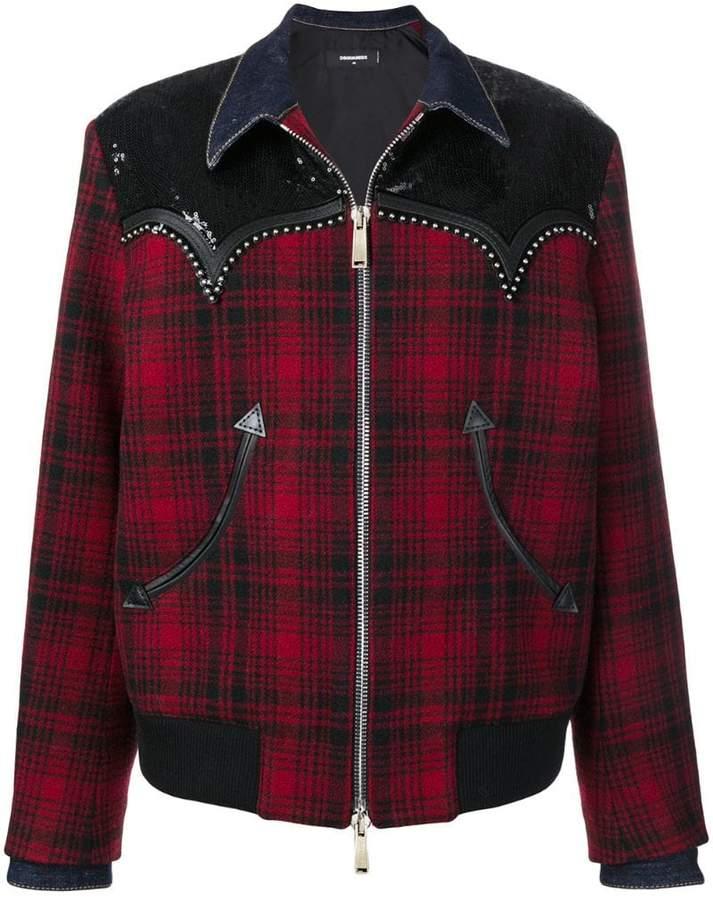 tartan studded jacket