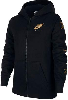 Nike Girls G NSW Fleece Full Zip Hoodie - Black/Gold