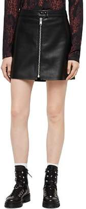 AllSaints Lena Zip-Front Leather Skirt