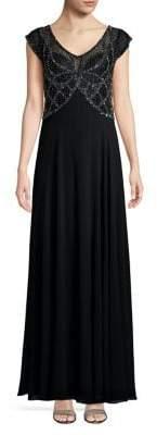 J Kara Sleeveless Embellished Column Gown