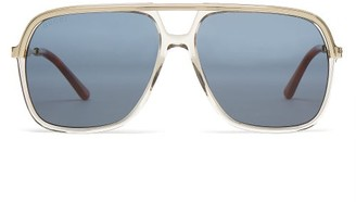 Gucci - Rectangular Frame Acetate And Metal Sunglasses - Mens - Brown