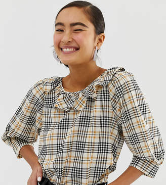 Monki check print puff-sleeve top in beige