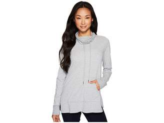 Mod-o-doc Heather Stripe Jersey Cowl Neck Pullover with Kangaroo Pocket Women's Sweatshirt