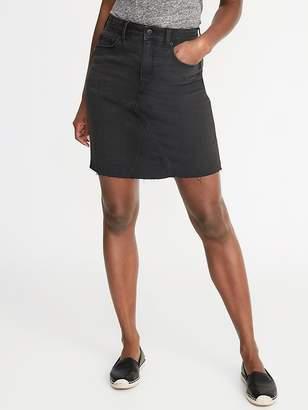 cc692e6ae91a0 Old Navy High-Rise Frayed-Hem Black Denim Skirt