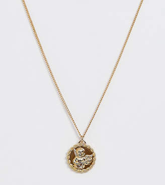 Reclaimed Vintage inspired necklace with cherub coin pendant