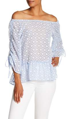 Democracy Shirred 3\u002F4 Length Sleeve Check Blouse