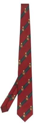 Gucci Logo Embroidered Silk Blend Tie - Mens - Burgundy