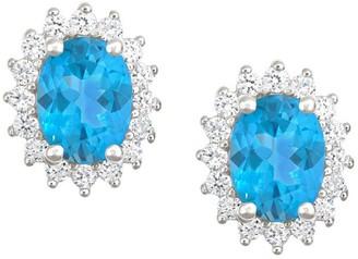 Premier 2.50cttw Oval Blue Topaz & Diamond Earrings, 14K