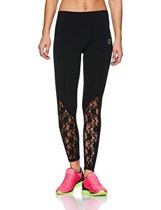 Oasis Sunday Women's Tights Highwaist Sports Yoga Workout Gym Running Trouser with Brocade Mesh Yoke & Hem