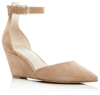 Kenneth Cole Emery Suede Pointed Toe Ankle Strap Wedge Pumps $130 thestylecure.com