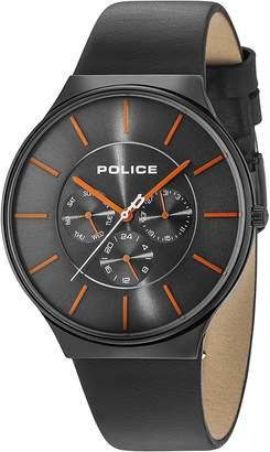 Police Men's Quartz Watch with Black Leather Strap 15044JSB/13A