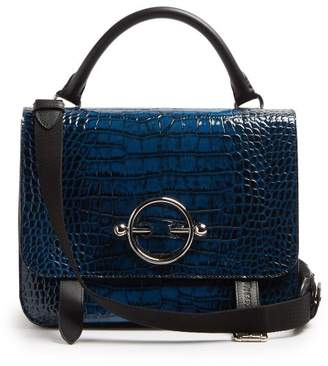 J.W.Anderson Disc Crocodile Effect Leather Satchel Bag - Womens - Navy