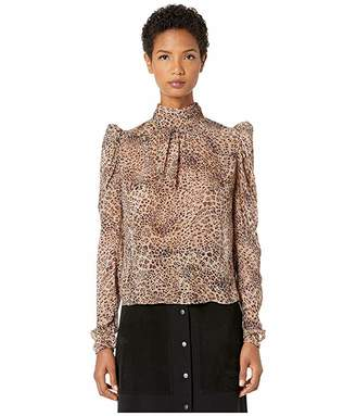 ML Monique Lhuillier Long Sleeve Top with Gathers at Front and Back Neck