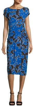 Michael Kors Round-Neck Cap-Sleeve Tropical Floral-Print Fitted Dress