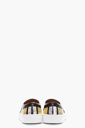 Givenchy Yellow Striped Snakeskin Slip-On Shoes