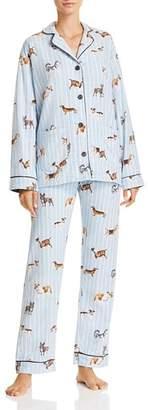 PJ Salvage Doggone Tired Dog Print Flannel Cotton Pajama Set