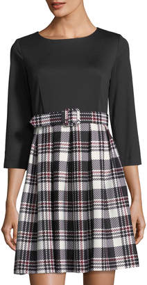 Eliza J 3/4-Sleeve Belted Pleated Plaid Dress