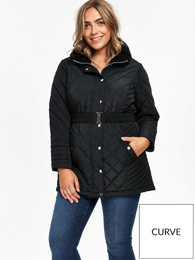 Faux Fur Collar Quilted Coat - Black