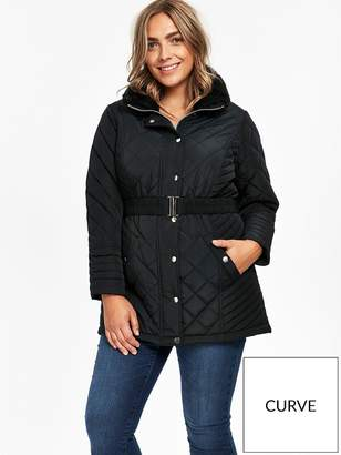 Evans Faux Fur Collar Quilted Coat - Black