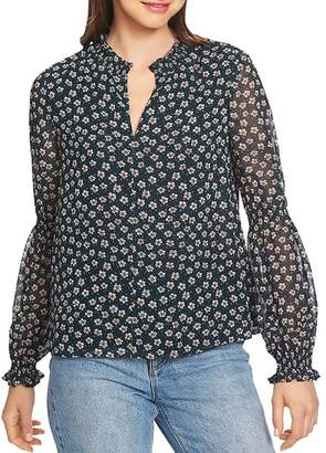 1 STATE 1.STATE Smocked Floral-Print Top
