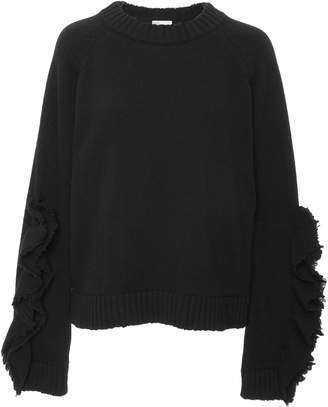 RED Valentino Oversized Wool Knit Ruffle Top