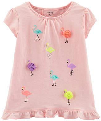 Carter's Girls Round Neck Short Sleeve Embellished Graphic T-Shirt - Baby