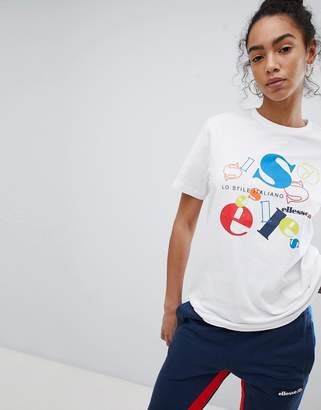 Ellesse Heritage Boyfriend T-Shirt With Jumbled Retro Logo