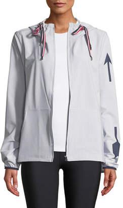 The Upside Dupont Striped Hooded Logo Jacket