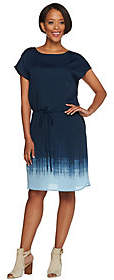 Halston H by Cap Sleeve Ombre Printed Dress