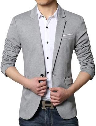 b5fc26083ba8 Pishon Men s Casual Blazer Jacket Lightweight Cotton Slim Fit One Button  Sport Coat